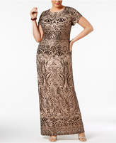 Betsy & Adam Plus Size Sequined Gown
