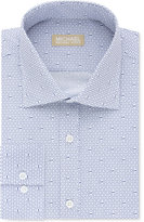 Michael Kors Men's Classic/Regular Fit Non-Iron Navy Logo Print Dress Shirt, Only at Macys