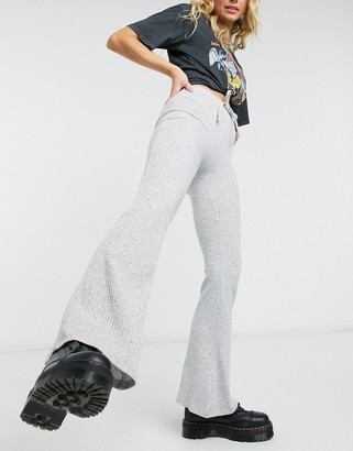 Topshop tie rib flare trousers in grey marl