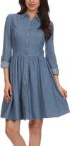 Blvd Blue Fit & Flare Shirt Dress