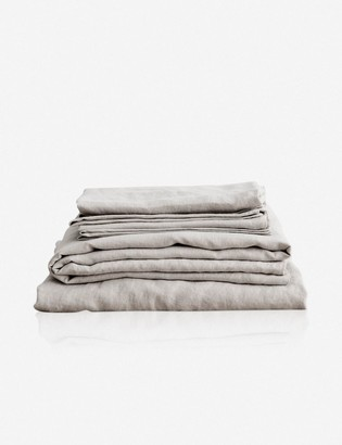 Lulu & Georgia Cultiver Linen Bedding, Smoke Gray Sheet Set