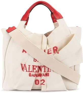 Valentino Graffiti Print Logo Tote Bag