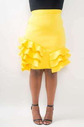 Couture Buxom Pencil Skirt w/ Side Ruffles in Yellow Size 3X