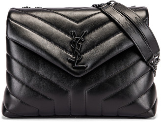 Saint Laurent Small Supple Monogramme Loulou Chain Bag in Black & Black | FWRD