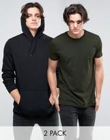 Asos Longline Hoodie/Longline T-Shirt 2 Pack Black/Khaki