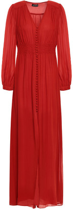 Nicholas Gathered Silk-georgette Maxi Dress