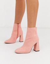 Asos Design DESIGN Ending heeled ankle boots in apricot
