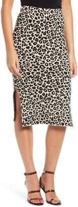 J.o.a. Leopard Print Knit Midi Skirt