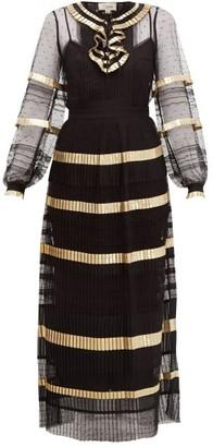 Temperley London Phantom Pleated Swiss-dot Maxi Dress - Womens - Black Gold