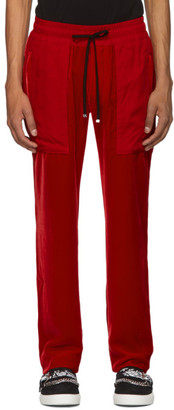 Amiri Red Velvet Commando Patch Lounge Pants
