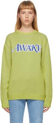 Awake NY Green Embroidered Logo Sweater