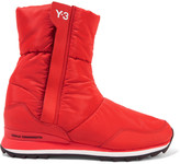 Y-3 + adidas Originals Rhita leather-trimmed quilted shell boots