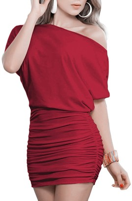 Liujos Anxihanee Women Sexy Off Shoulder Short Sleeve Mini Pleated Dress (L