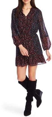 1 STATE 1.STATE Mixed Daisy Sprig Long Sleeve Dress