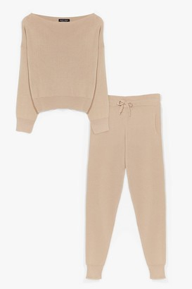 Nasty Gal Womens So Easy Knitted Joggers Lounge Set - Beige - M