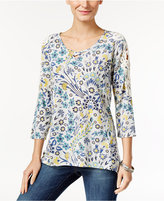 Style&Co. Style & Co Petite Printed Lattice-Neck Top, Only at Macy's