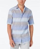 Tasso Elba Men's Linen Ombré Stripe Short-Sleeve Shirt, Classic Fit