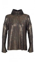 Tibi All Over Sequins Funnel Neck Top