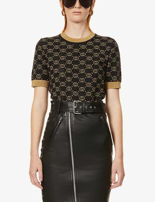 Gucci Logo-pattern wool-blend top