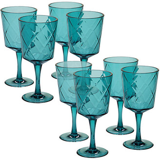 One Kings Lane Set of 8 Drazen Acrylic Goblet Set - Teal