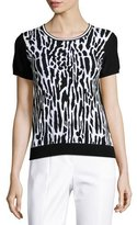 St. John Leopard-Jacquard Short-Sleeve Sweater, Black/White