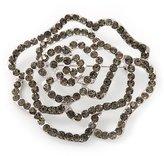 Avalaya Silver Tone Ash Grey Swarovski Crystal 'Rose' Brooch - 6cm Diameter