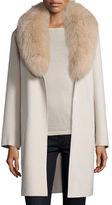 Neiman Marcus Double-Face Cashmere Coat w/ Fox Fur Collar