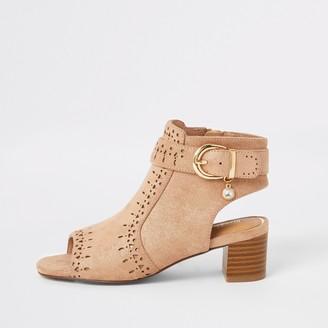 River Island Girls Brown embossed open toe heeled boot