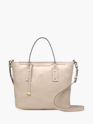 Radley Patcham Place Zip-Top Leather Grab Bag, Dove Grey