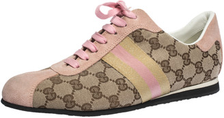 Gucci Beige GG Monogram Canvas and Pink Suede Web Lace Up Sneakers Size 40