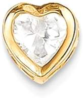 IceCarats 14k Yellow Gold 5mm Heart Cubic Zirconia Bezel Necklace Pendant Charm