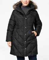 London Fog Plus Size Faux-Fur-Trim Hooded Down Puffer Coat