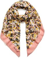 Mulberry Multicolour Flower Square Macaroon Pink Silk and Cotton
