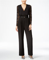 XOXO Juniors' Belted Lace-Back Jumpsuit
