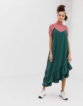 Monki Ruffle Panel Cami Dress-Green