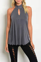 Sweet Claire Keyhole Scallop Top
