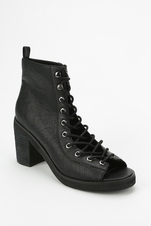 PeepToe Deena & Ozzy Peep-Toe Lace-Up Boot