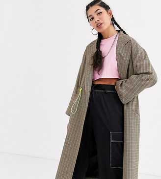 Collusion check trench coat with drawcord detail
