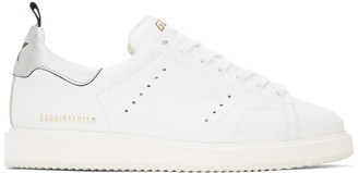 Golden Goose White and Silver Starter Sneakers