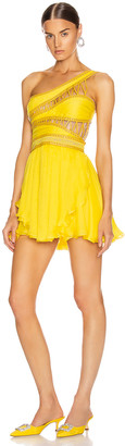 Aadnevik One Shoulder Chiffon Mini Dress in Canary Yellow | FWRD