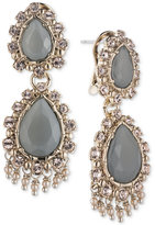 Marchesa Gold-Tone Stone and Crystal Double Drop Earrings