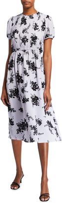 MICHAEL Michael Kors Pintuck Floral Print Short Sleeve Dress
