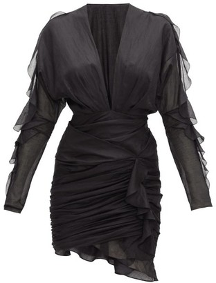 Alexandre Vauthier Plunge-neck Ruffled Cotton-voile Mini Dress - Black