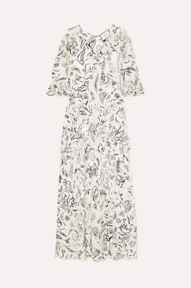 Rixo Laura Jackson Frieda Ruffled Printed Silk Maxi Dress - Cream