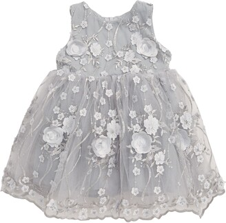 Popatu Floral Applique Scalloped Tulle Dress