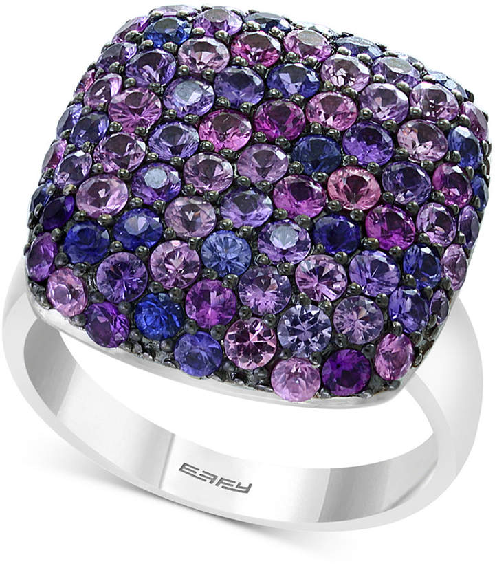 Effy Splash by Purple Sapphire Pave Square Statement Ring (3-1/4 ct. t.w.) in Sterling Silver