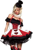 Leg Avenue Women's 2 Piece Pretty Playing Card Costume Includes Dress And Neck Piece, Red/Black