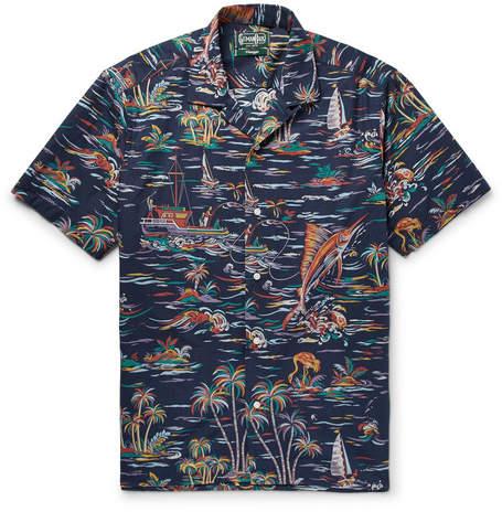 Gitman Brothers Camp-Collar Printed Cotton-Poplin Shirt
