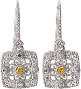 Judith Ripka Square Crystal & Sapphire Filigree Drop Earrings
