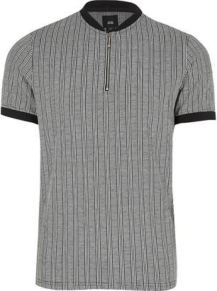 River Island Big and Tall grey stripe slim fit T-shirt